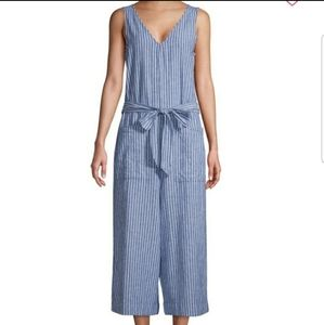 BeachLunchLounge Striped Linen Jumpsuit NWT
